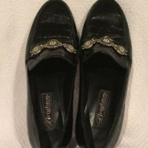 Brighton Erica Black Reptile Print Loafer Shoes 6M